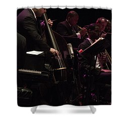 Bass Player Jams Jazz Shower Curtain