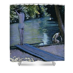Bather About To Plunge Into The River Yerres Shower Curtain by Gustave Caillebotte