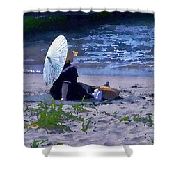 Shower Curtain featuring the photograph Bather By The Bay - Square Cropping by David Coblitz