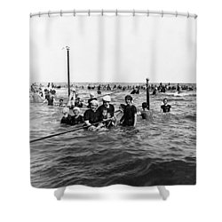 Bathing In The Gulf Of Mexico - Galveston Texas  C 1914 Shower Curtain