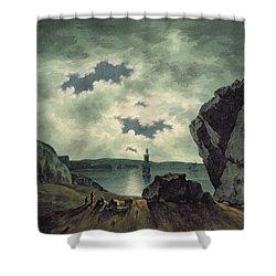 Bay Scene In Moonlight Shower Curtain by John Warwick Smith