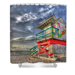 Baywatch Miami Shower Curtain by Sean Allen