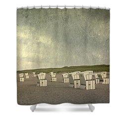 Beach Chairs Shower Curtain by Joana Kruse