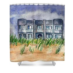 Shower Curtain featuring the painting Beach House by Clara Sue Beym
