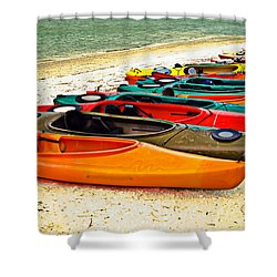 Shower Curtain featuring the photograph Beach Kayaks by Susan Leggett
