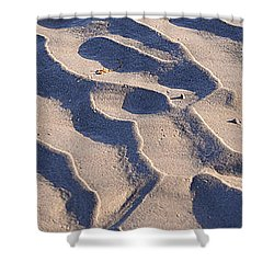 Beach Sand At Sunset Shower Curtain by Phill Petrovic