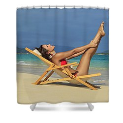Beach Stretches Shower Curtain by Tomas del Amo
