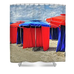 Shower Curtain featuring the photograph Beach Umbrellas Nice France by Dave Mills