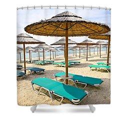 Beach Umbrellas On Sandy Seashore Shower Curtain by Elena Elisseeva