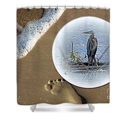 Beached Heron Shower Curtain