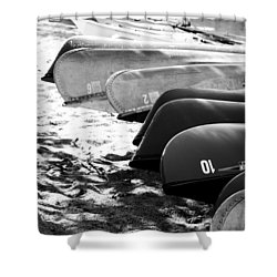 Beached Kayaks Shower Curtain by Julia Wilcox