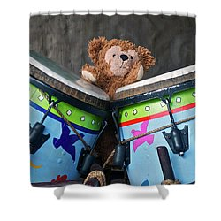 Shower Curtain featuring the photograph Bear And His Drums At Walt Disney World by Thomas Woolworth