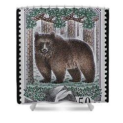 Bear Vintage Postage Stamp Print Shower Curtain