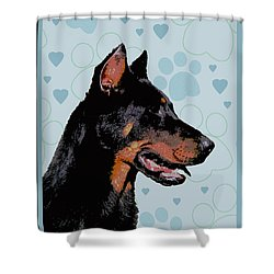Beauceron Shower Curtain by One Rude Dawg Orcutt