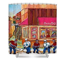 Beauty's Restaurant-montreal Street Scene Painting-hockey Game-hockeyart Shower Curtain by Carole Spandau