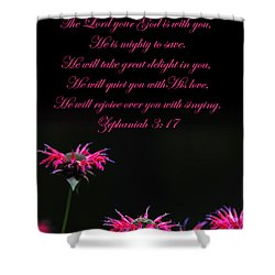 Shower Curtain featuring the photograph Bee Balm And Bible Verse by Randall Branham