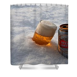 Beer In The Snow Shower Curtain by Rob Hawkins