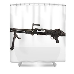 Belgian Fn Mag 7.62mm General Purpose Shower Curtain by Andrew Chittock
