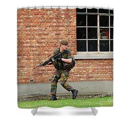 Belgian Infantrists Under Attack Shower Curtain by Luc De Jaeger