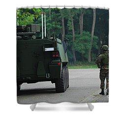 Belgian Infantry Soldiers Walk Shower Curtain by Luc De Jaeger