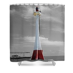 Shower Curtain featuring the photograph Belize City Lighthouse Color Splash Black And White by Shawn O'Brien