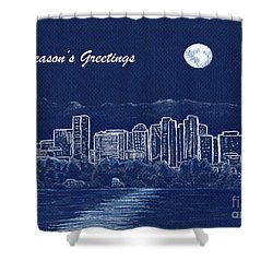 Shower Curtain featuring the painting Bellevue Skyline Holiday Card by Phyllis Howard