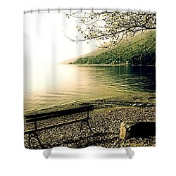 Bench In Autumn Shower Curtain by Joana Kruse