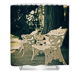 Benches Shower Curtain by Joana Kruse