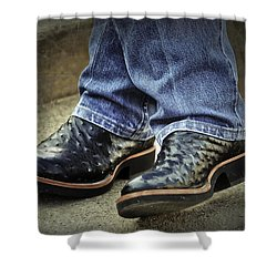 Bennys Boots Shower Curtain by Joan Carroll