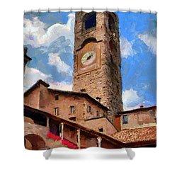 Bergamo Bell Tower Shower Curtain by Jeff Kolker