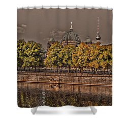 Shower Curtain featuring the photograph Berlin Cathedral ... by Juergen Weiss