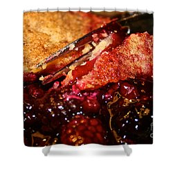 Berry Burst Bite Shower Curtain by Susan Herber