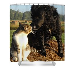 Best Buddies Portrait Shower Curtain
