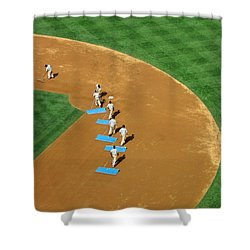 Shower Curtain featuring the photograph Between Innings by Mike Martin