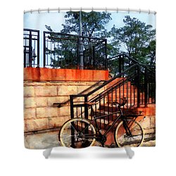 Bicycle By Train Station Shower Curtain by Susan Savad