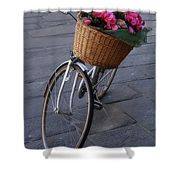 Bicycle In Lucca Italy Shower Curtain by Bob Christopher