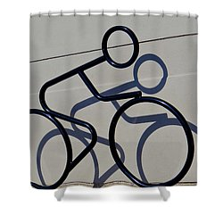 Bicycle Shadow Shower Curtain by Julia Wilcox
