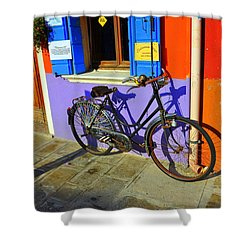 Bicycle Stance Burano Italy Shower Curtain