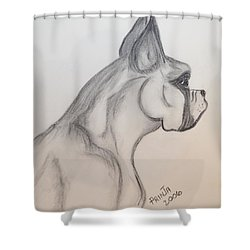Shower Curtain featuring the drawing Big Boxer by Maria Urso