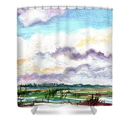 Shower Curtain featuring the painting Big Clouds by Clara Sue Beym