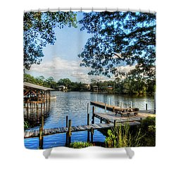 Big Daddys Harbor Shower Curtain by Michael Thomas