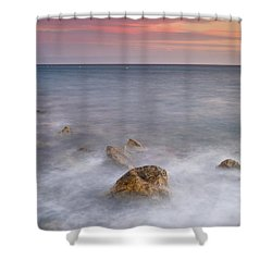Big Rock Against The Waves Shower Curtain by Guido Montanes Castillo