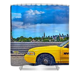 Big Yellow Taxi Shower Curtain by Marianne Campolongo