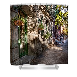 Bike - Ny - Greenwich Village - The Green District Shower Curtain by Mike Savad