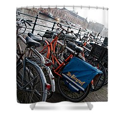 Shower Curtain featuring the digital art Bikes In Amsterdam by Carol Ailles