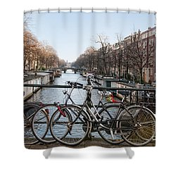 Shower Curtain featuring the digital art Bikes On The Canal In Amsterdam by Carol Ailles