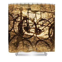 Bikes On The Canal Shower Curtain by Skip Nall