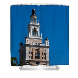 Shower Curtain featuring the photograph Biltmore Hotel Tower And Moon by Ed Gleichman