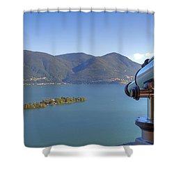 Binoculars Focused On The Isole Di Brissago Shower Curtain by Joana Kruse
