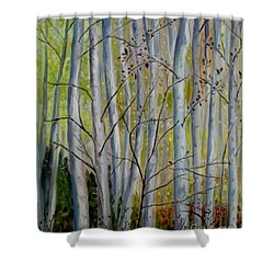 Shower Curtain featuring the painting Birch Forest by Julie Brugh Riffey